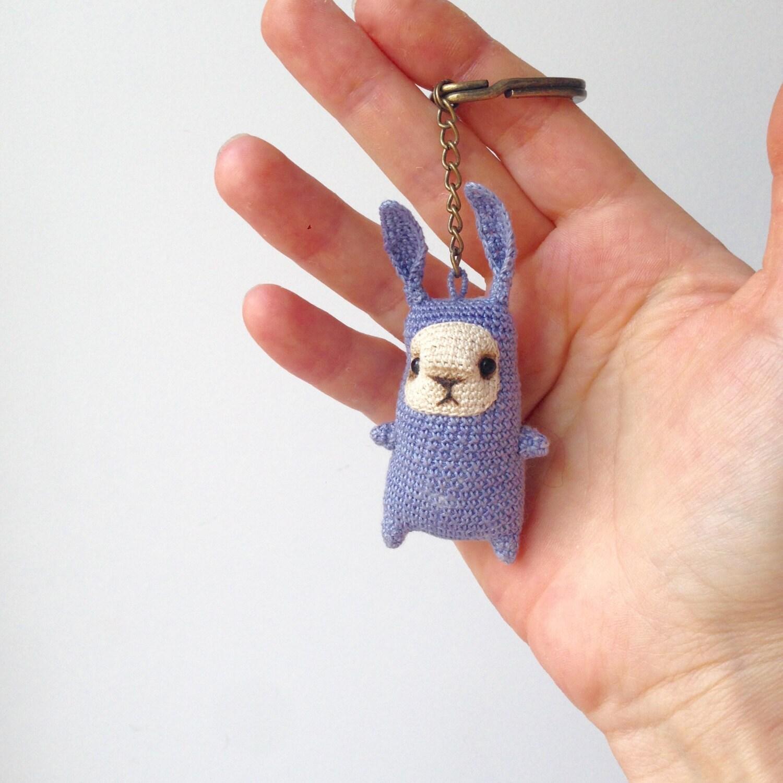 Amigurumi Bunny Keychain : Cute little crochet blue bunny keychain amigurumi bag by ...