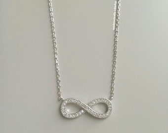 Necklace Silver 925/000 - Necklace infinity, infinity infinite Silver 925 - adjustable size - silver 925