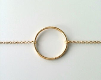 Bracelet pattern simple ring / 18 k gold plated bracelet / bracelet circle, round ring / gold plated 18-carat
