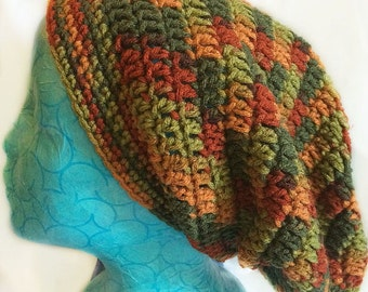 Super Slouchy Beanie Hat, Crocheted Slouchy Beanie, Extra Large Beanie Fall Colors