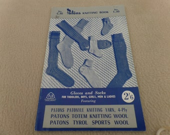 Paton's Socks and Gloves knitting pattern book No C. 16, free postage