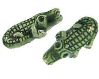 9x18mm Hand Painted Green Ceramic Gator Beads - 10 pcs.