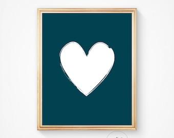 Nursery print heart printable teal heart digital wall print teal digital white heart wall print printable heart nursery wall art brush print
