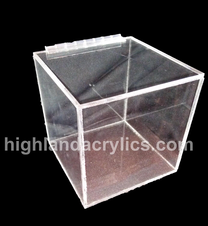 Acrylic Box Lid : Acrylic lucite hinged lid display box by highlandacrylics