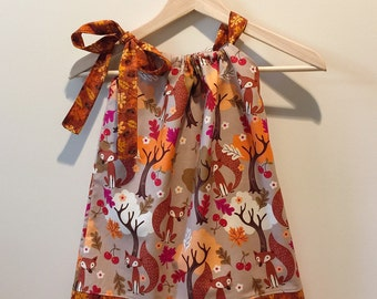 Fall Fox Pillowcase Dress, Sizes 18 months to 5T