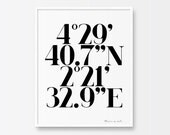 Personalized Coordinates Printable Poster, Printable Black and White Typography Poster, Valentines Day Gift, Inspirational Printable Art