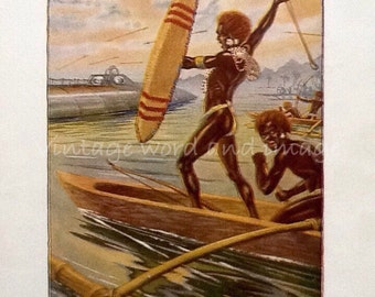 1936 Jules Verne Twenty Thousand Leagues Under the Sea Art Print Vintage Book Lithograph Nautilus Submarine Captain Nemo Steampunk Fantasy
