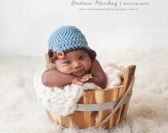SALE Newborn Crochet Baseball Hat / Baby Boy / Newborn Photography Prop / Softball Cap / Newsboy
