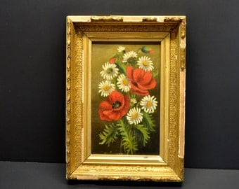 Antique Oil on Canvas Still Life of Poppies and Daises