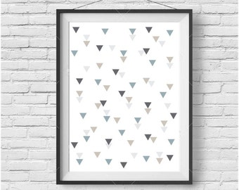 Blue Gray and Beige Art Nursery Art Boy Nursery Print Scandinavian Print Geometric Poster Geometric Art Triangle Print Nursery Decor