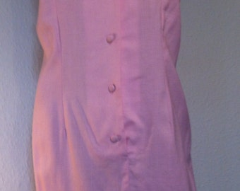 60's St Michael Pink & White Shift Dress (Uk 14)
