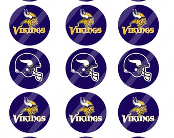 Minnesota Vikings digital collage sheet 8.5x11 2 inches round for cupcake toppers   INSTANT DOWNLOAD