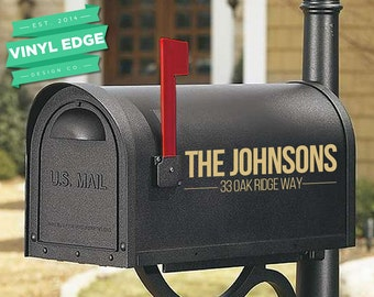 Set of 2 Custom Mailbox Modern Personalized Vinyl Decals - Custom Address Decal - Last name Decal - Vinyl Lettering [MBX0009]