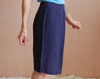Vintage High Waisted Pencil Skirt / 80s High Waisted Skirt / 80s Polka Dot Skirt