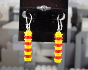 Flower studs Dangle Earrings made from Red and Yellow Bricks Handmade from Lego and Mega Bloks