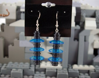 Dangle Earrings made from Black and Transparent Blue Bricks Handmade from Lego and Mega Bloks