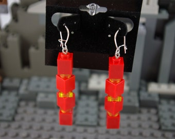 Dangle Earrings made from Red and Yellow Bricks Handmade from Lego and Mega Bloks