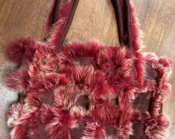 Deep red suede and fur shoulder bag