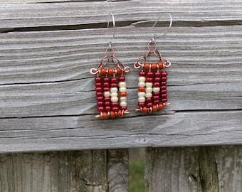 Beaded Copper Earrings