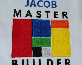 Lego Inspired MASTER  BUILDER Boys Or Girls Lego  Inspired  Appliqued T Shirt!