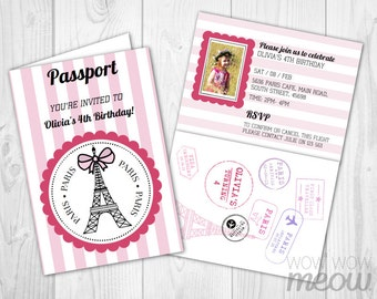 PARIS Passport Invitation INSTANT DOWNLOAD Add A Photo Pink Girls Birthday Party Invitation Personalize Editable Kids Children Printable