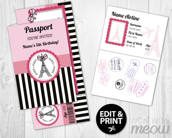 paris passport invite ticket invitation instant by wowwowmeow. Black Bedroom Furniture Sets. Home Design Ideas