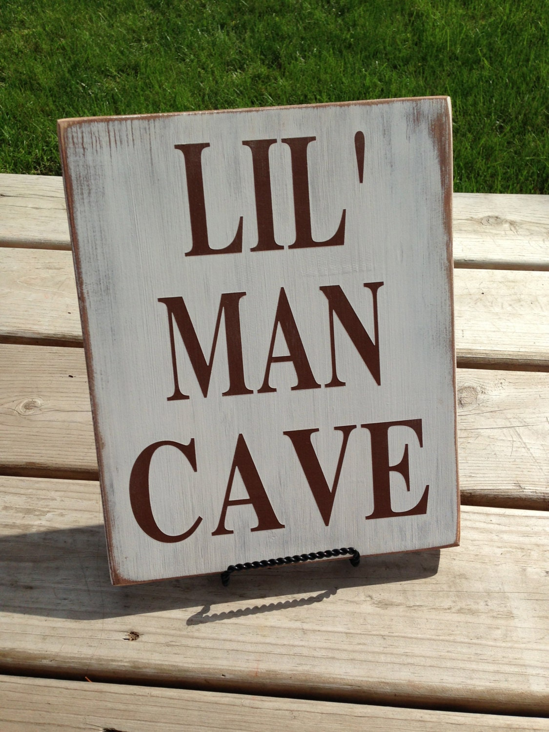 lil 39 man cave bright fun wood sign perfect for a. Black Bedroom Furniture Sets. Home Design Ideas