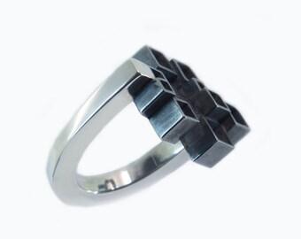 Block ring of silver, black rhodium ring, statement ring