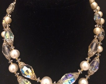 Vintage faux pearl with aurora borealis crystal choker necklace