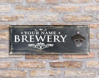 Personalized Custom Wall Mount Bar Sign Bottle Opener (Your Name Brewery)