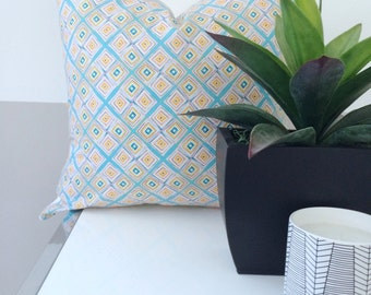 Modern Teal, Pink, Orange and White Pillow Cover with a Contemporary Diamond Design 18x18