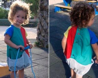 Carmencita – Coloured balloon dress with big pocket