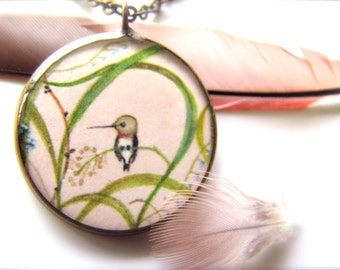 Hummingbird in Grasses Necklace