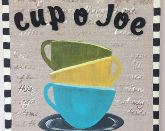 "Coffee art, 12"" x12"" coffee mixed media painting on a stretched linen canvas, coffee cup art, kitchen decor, coffee lover gift, coffee canva"