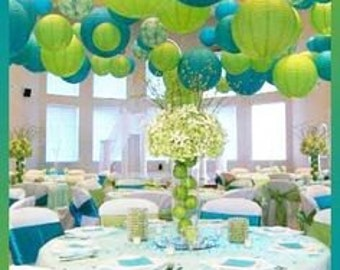 "Pkg of 10 - 12"" Paper Lantern for Wedding or Special Occasion Greens & Blues"
