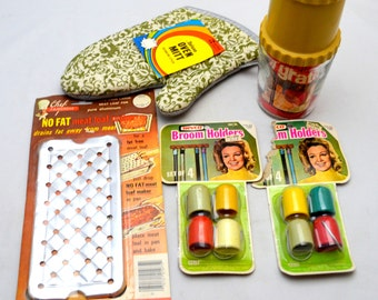 Fun 1970s Kitchen Lot, 5 Pieces, NOS Oven Mitt, Meat Loaf Maker, Broom Holders, Acme Cheese Grater