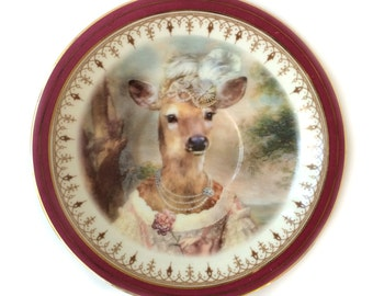 Vintage - Illustrated - Plate - Upcycled - Deer - French - Altered - Antique - Plate - Anthropomorphic