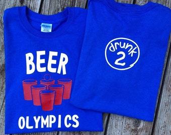 Beer Olympics t-shirt, beer Olympics, beer pong shirt, drunk 1 drunk 2, custom shirts