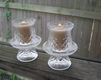 Glass Candle Holders, Votive Or Taper Candle, Four Piece Set, Diamond And Ribbed Design, Clear Glass, Vintage Candle Holder