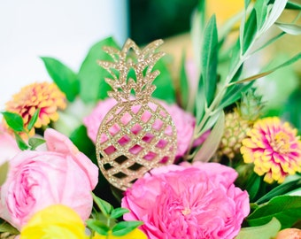 Pineapple Appetizer Picks, Cupcake Toppers, Pineapples, Cupcakes, Bridal Shower Decor, Tropical Party, Acrylic, Laser Cut, 4 Ct.