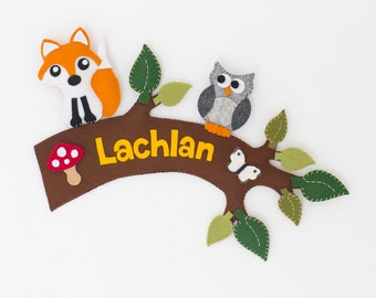 Woodland creatures personalized childrens name sign / wall hanging. Tree branch with fox, grey owl and butterfly.