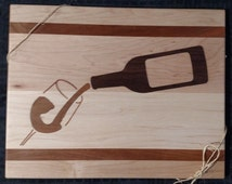 Maple Cutting Board w/ Cherry Accents & Wine Glass with Wine Bottle Design Inlay