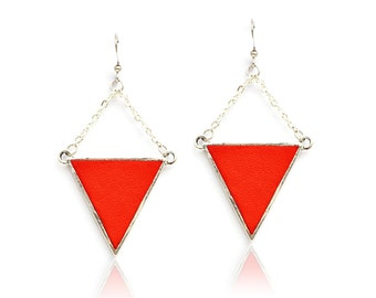 triangle - geometric - crimped leather - vermilion red earrings / electric blue - Silver 925 - finery - Aztec style hook-