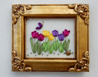 Silk Ribbon Embroidery Hand Stitched & Framed Row of Tulips Multi Ladybug
