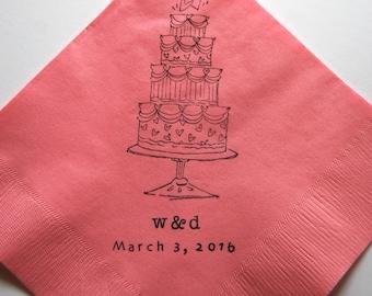 Fancy Wedding Cake Stamped Paper Napkins - Set of 50