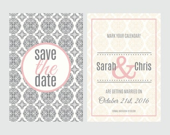 Save the date, Printable, Postcard, Wedding invitation, Digital download, DIY postcard, Damask save the date, Damask invitation
