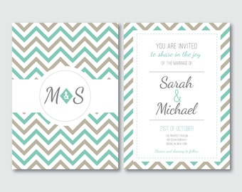 Invitation suite, Printable wedding invitations, Chevron invitations, Chevron RSVP, Chevron wedding, Thank you cards, Aqua and grey wedding