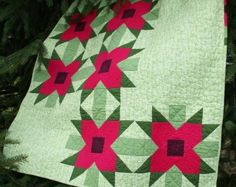 PDF Pattern - Poinsettia Pop Throw Quilt