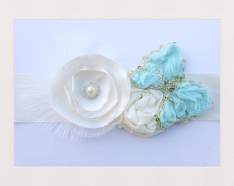 Blue and ivory butterfly sash