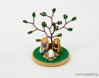 Miniature Nativity, Wire Tree, Office Christmas